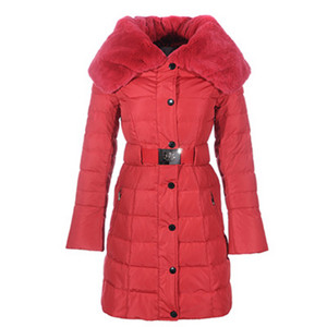 DG1928 New Womens Moncler Single-breasted Long Down Coats Vermelho [899c]