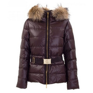 DG2275 Moncler Womens Angers Fur capa acolchoada Jacket Brown [dadc]